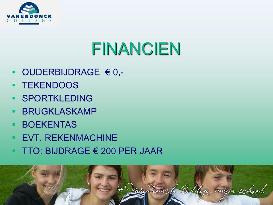 FINANCIEN OUDERBIJDRAGE € 0,- TEKENDOOS SPORTKLEDING BRUGKLASKAMP