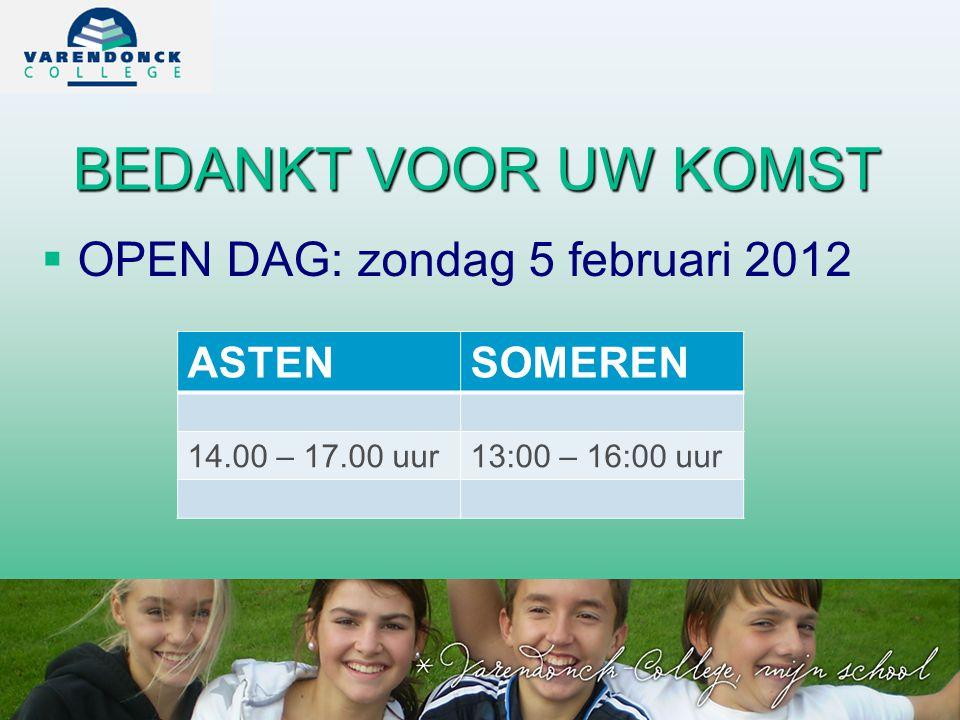 BEDANKT VOOR UW KOMST OPEN DAG: zondag 5 februari 2012 ASTEN SOMEREN