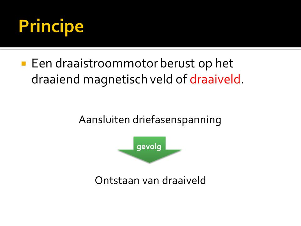 Principe Een draaistroommotor berust op het draaiend magnetisch veld of draaiveld. Aansluiten driefasenspanning.