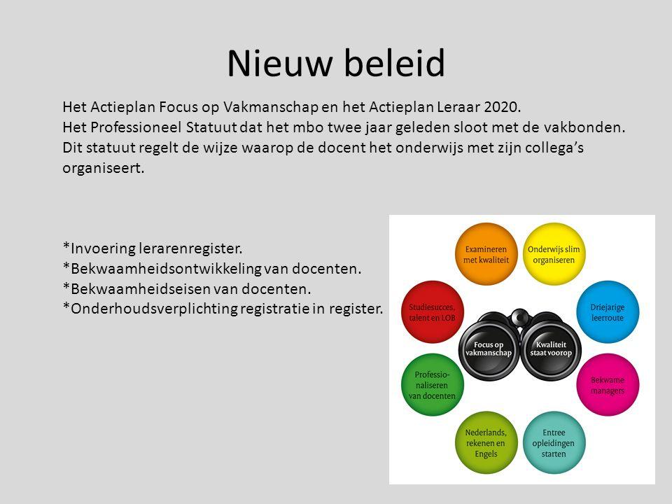 Nieuw beleid Het Actieplan Focus op Vakmanschap en het Actieplan Leraar 2020.