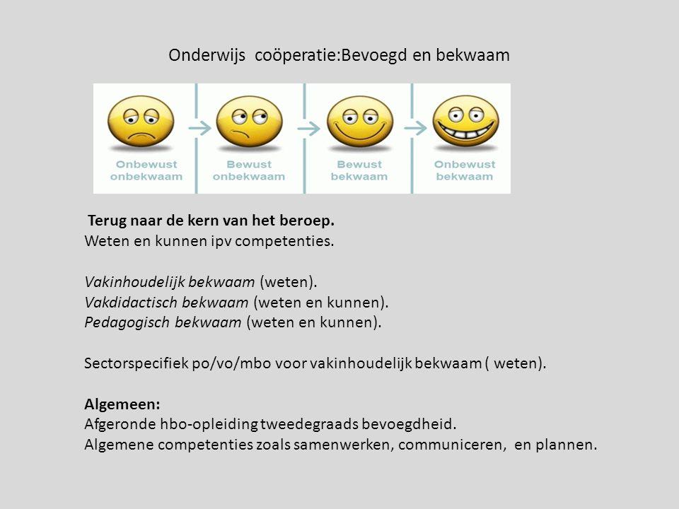 Onderwijs coöperatie:Bevoegd en bekwaam