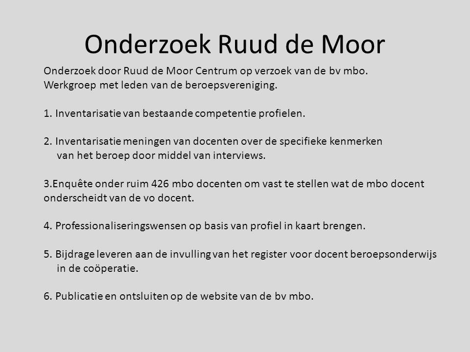Onderzoek Ruud de Moor Onderzoek door Ruud de Moor Centrum op verzoek van de bv mbo. Werkgroep met leden van de beroepsvereniging.