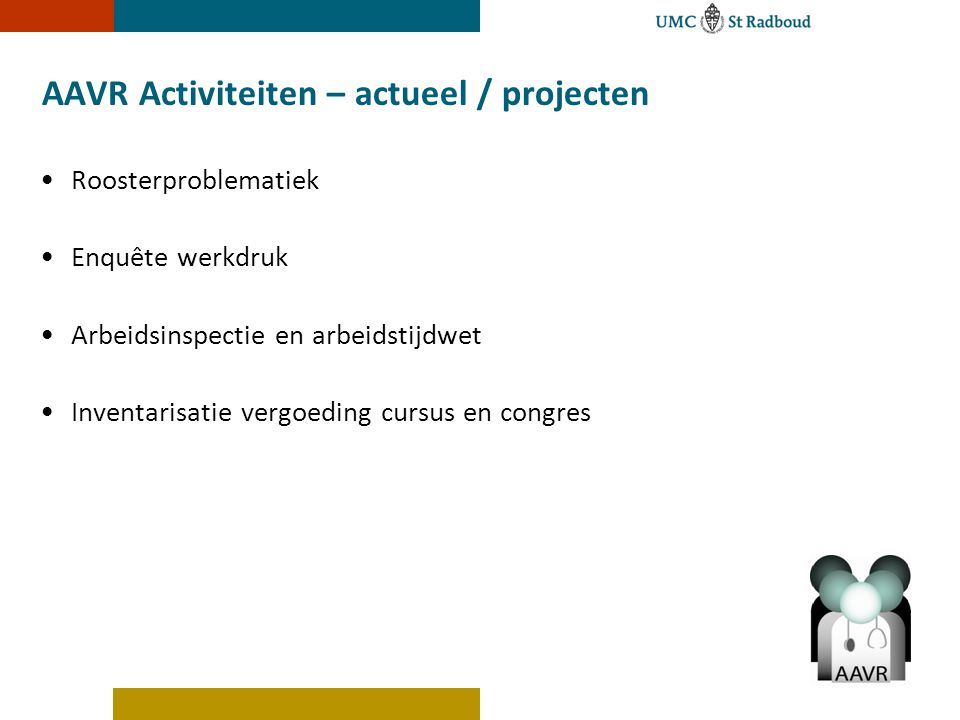 AAVR Activiteiten – actueel / projecten