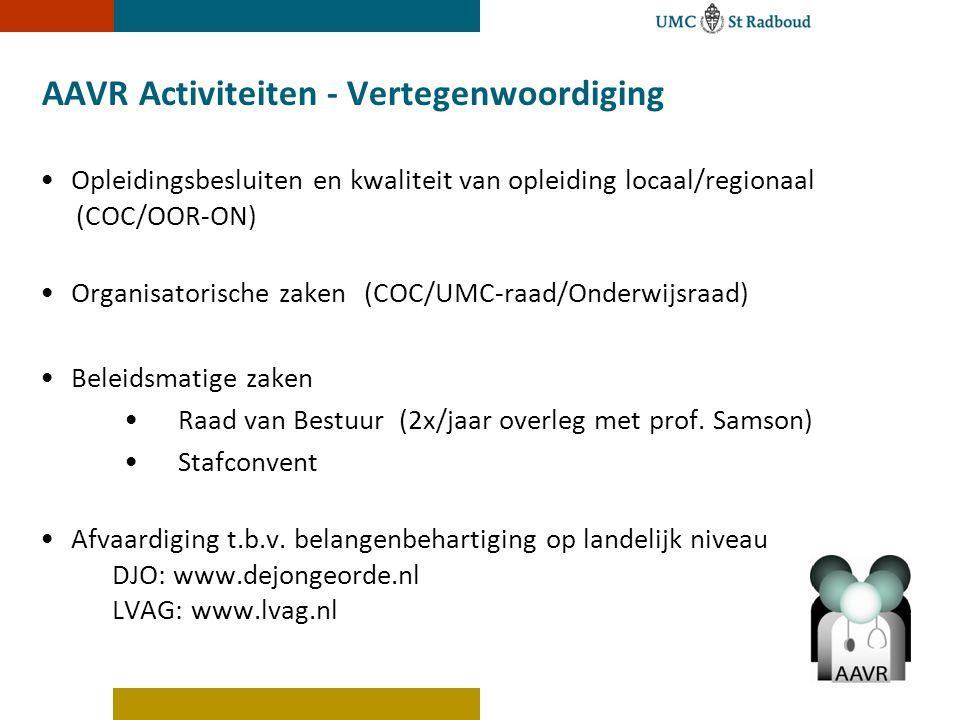 AAVR Activiteiten - Vertegenwoordiging