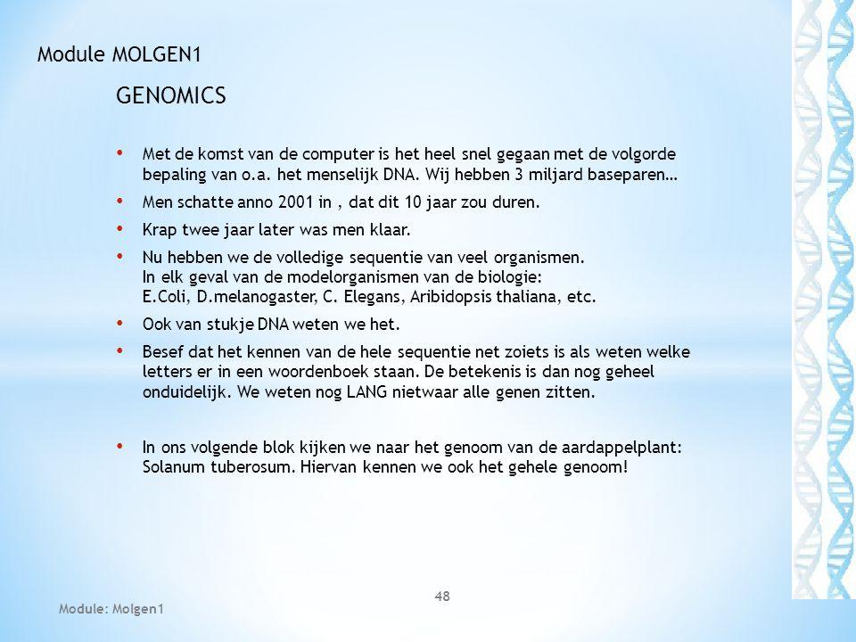 GENOMICS Module MOLGEN1