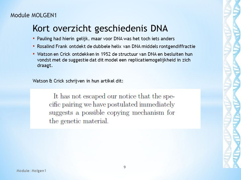Kort overzicht geschiedenis DNA