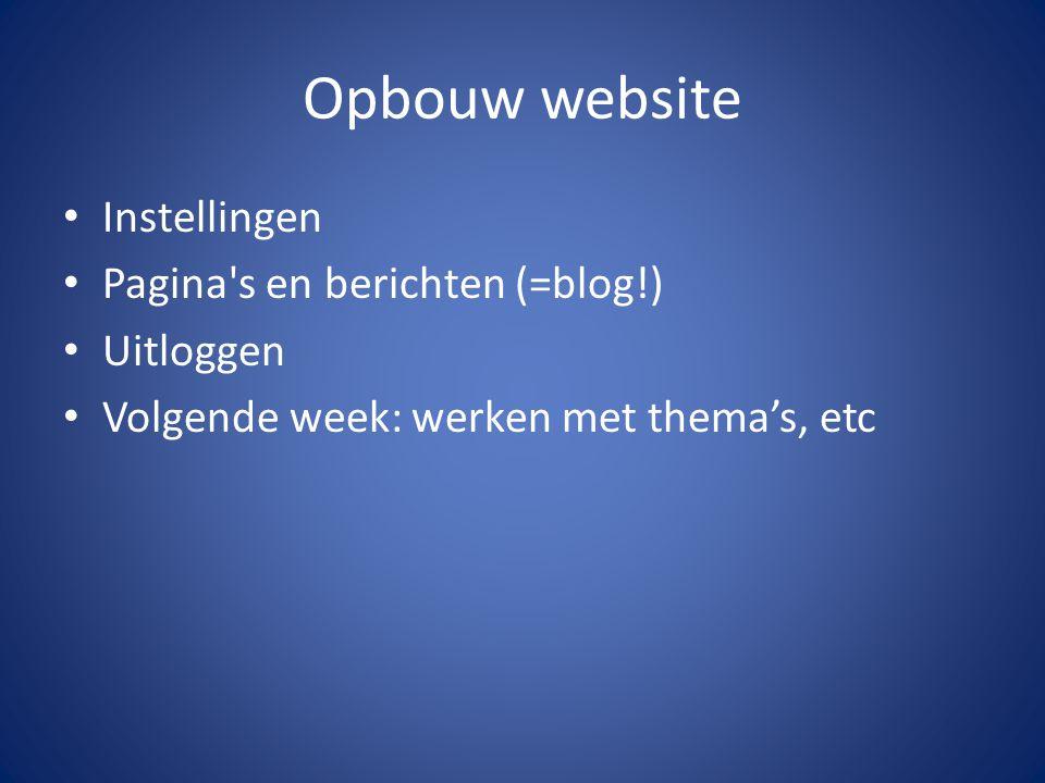 Opbouw website Instellingen Pagina s en berichten (=blog!) Uitloggen