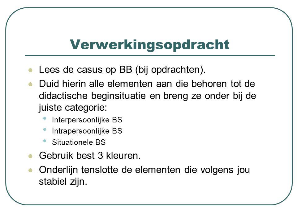 Verwerkingsopdracht Lees de casus op BB (bij opdrachten).