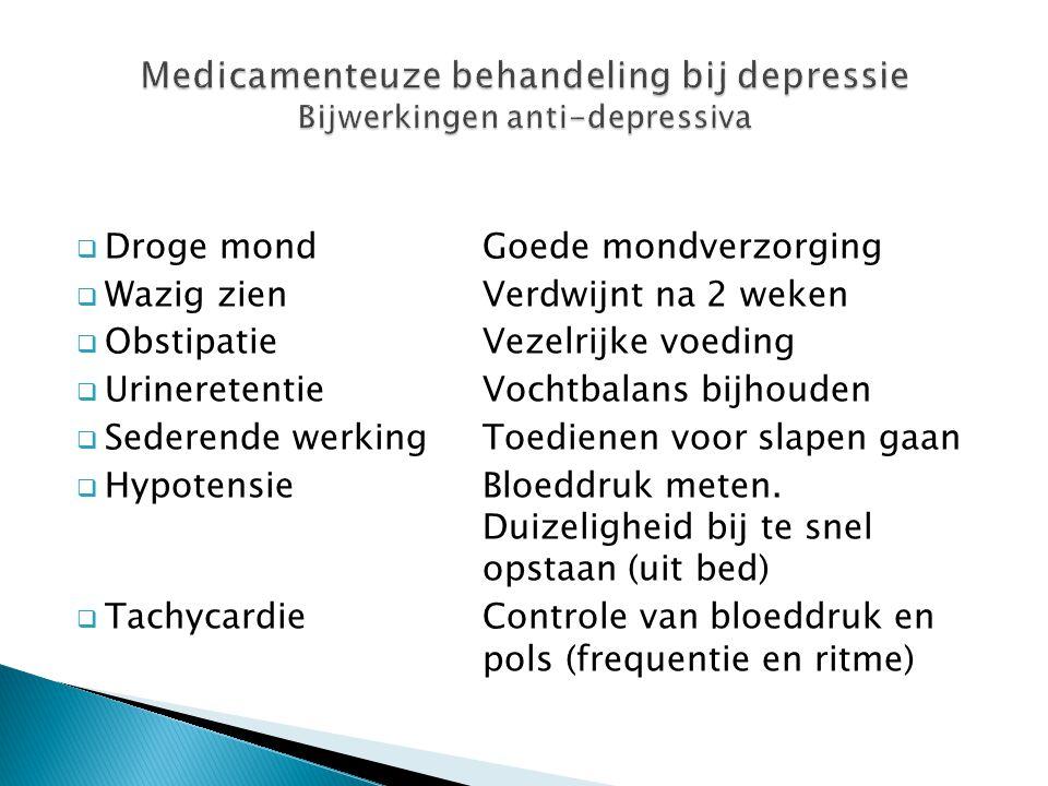 Medicamenteuze behandeling bij depressie Bijwerkingen anti-depressiva