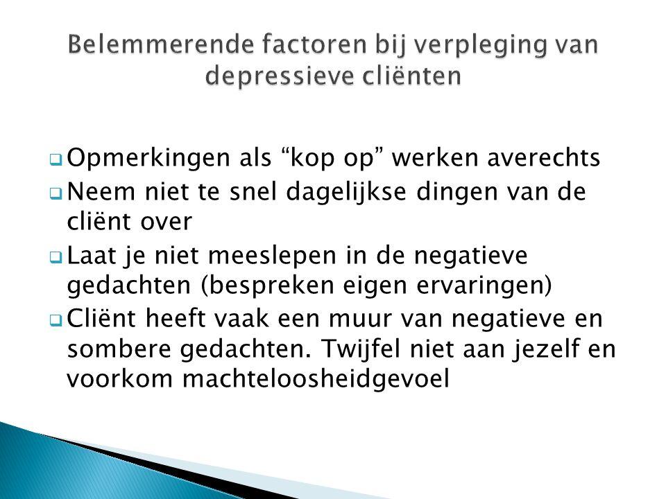 Belemmerende factoren bij verpleging van depressieve cliënten