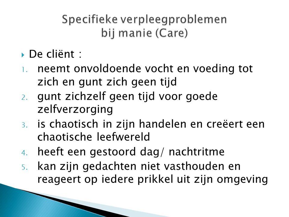 Specifieke verpleegproblemen bij manie (Care)