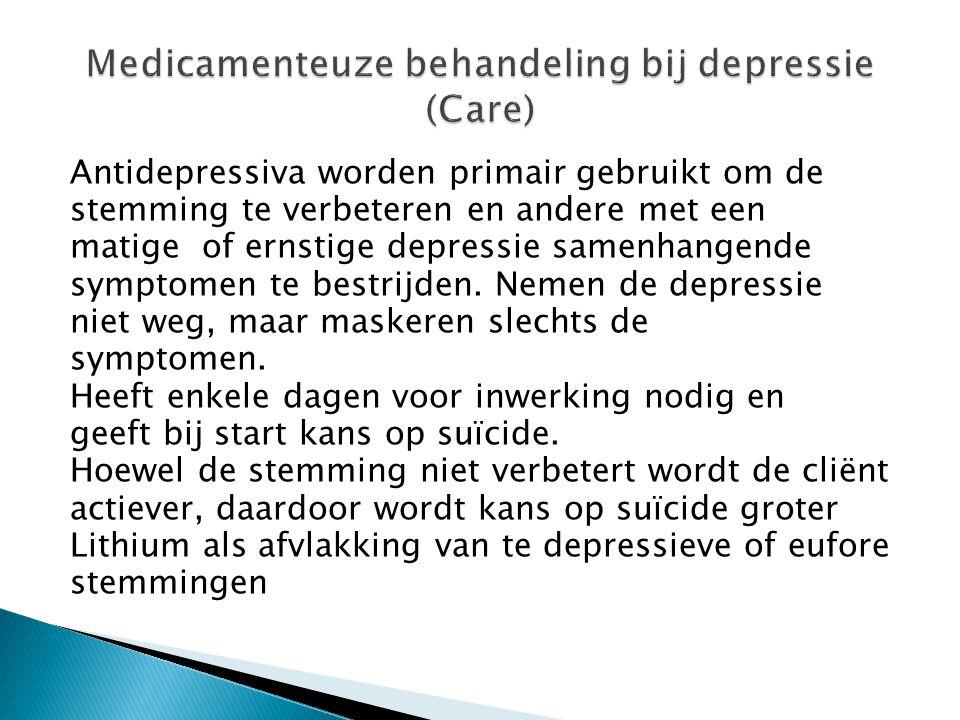 Medicamenteuze behandeling bij depressie (Care)