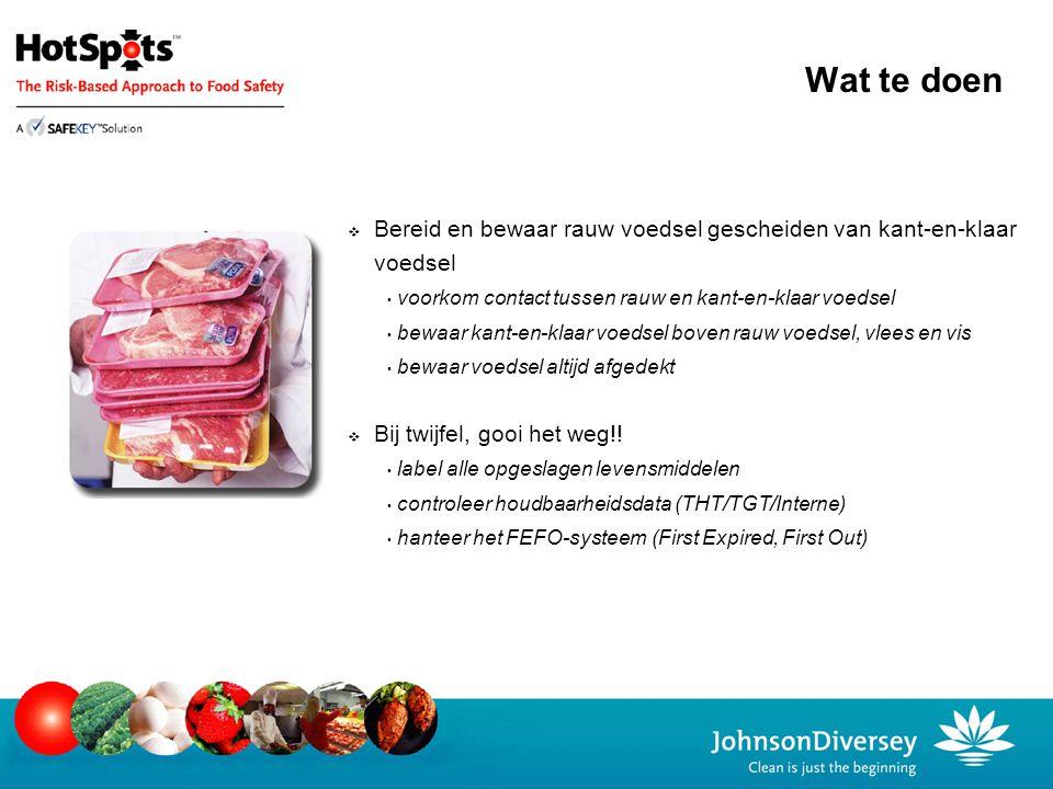 Wat te doen Bereid en bewaar rauw voedsel gescheiden van kant-en-klaar voedsel. voorkom contact tussen rauw en kant-en-klaar voedsel.