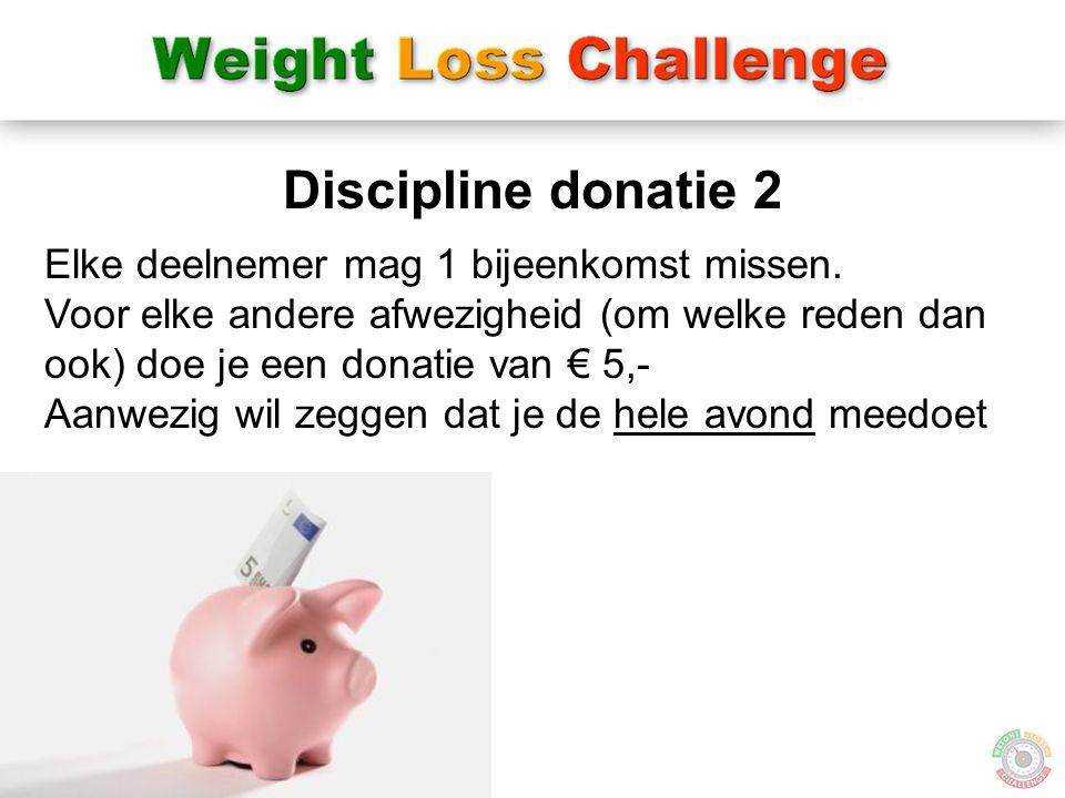Discipline donatie 2 Elke deelnemer mag 1 bijeenkomst missen.