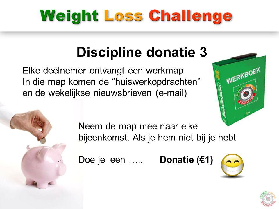 Discipline donatie 3 Elke deelnemer ontvangt een werkmap