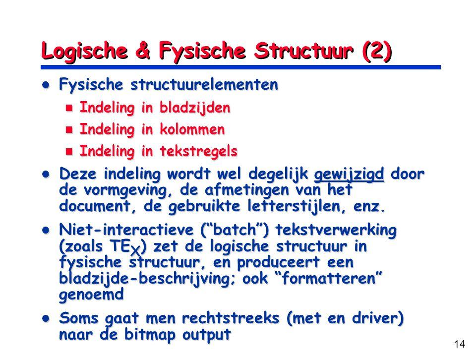 Logische & Fysische Structuur (2)