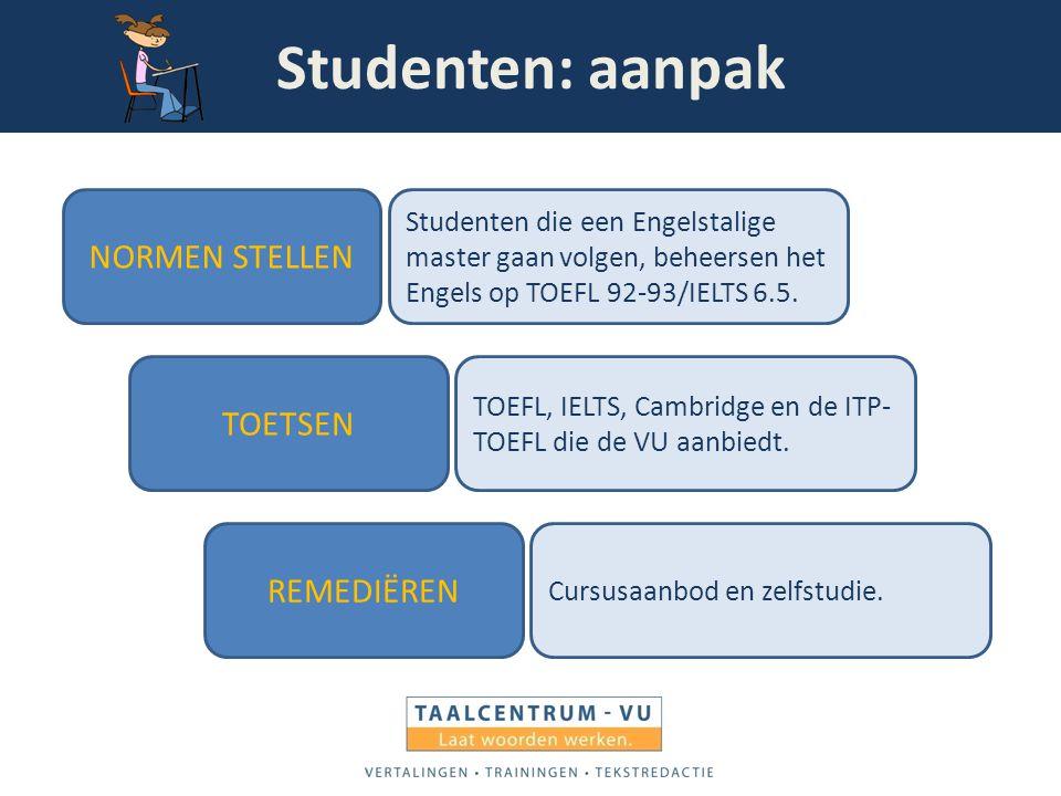 Studenten: aanpak NORMEN STELLEN TOETSEN REMEDIËREN