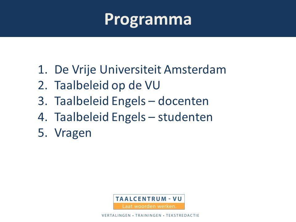 Programma De Vrije Universiteit Amsterdam Taalbeleid op de VU