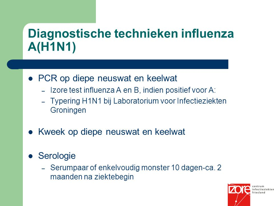 Diagnostische technieken influenza A(H1N1)