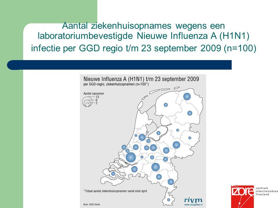 Aantal ziekenhuisopnames wegens een laboratoriumbevestigde Nieuwe Influenza A (H1N1) infectie per GGD regio t/m 23 september 2009 (n=100)