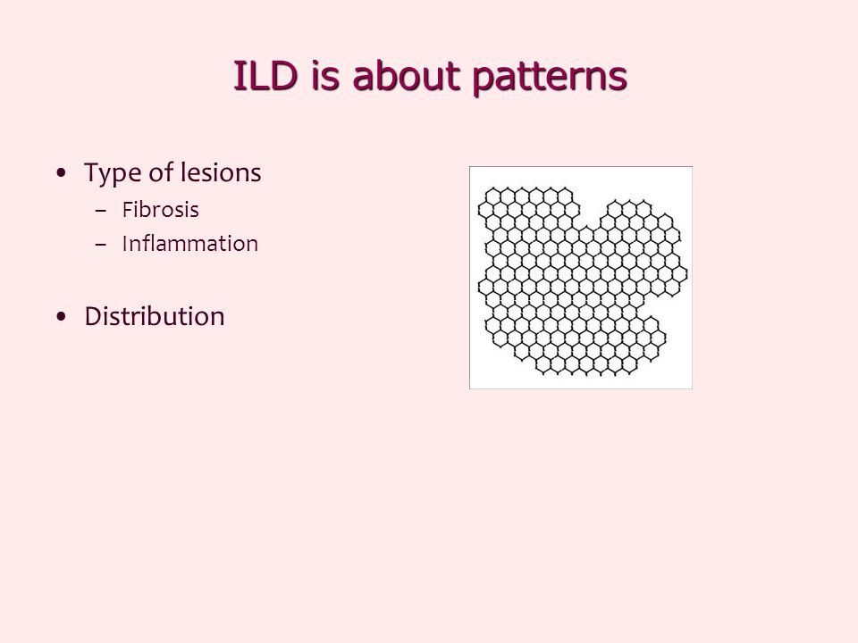 ILD is about patterns Type of lesions Distribution Fibrosis
