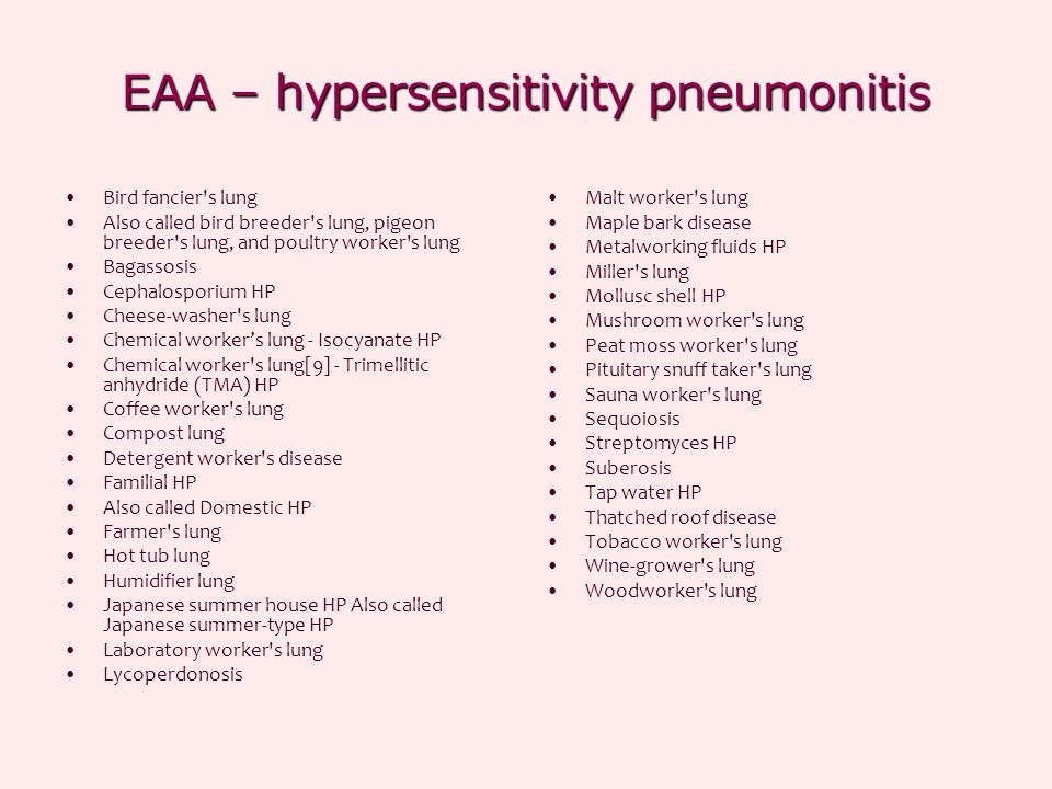 EAA – hypersensitivity pneumonitis