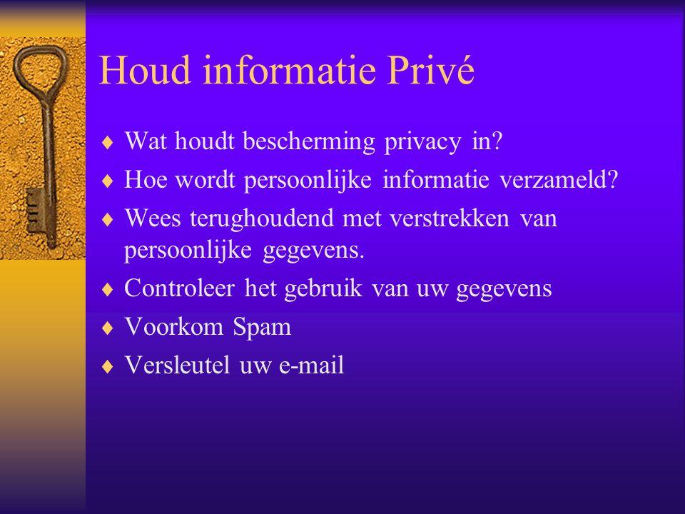Houd informatie Privé Wat houdt bescherming privacy in