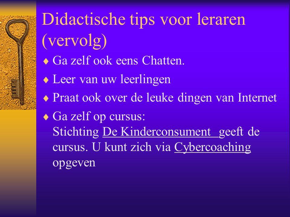 Didactische tips voor leraren (vervolg)