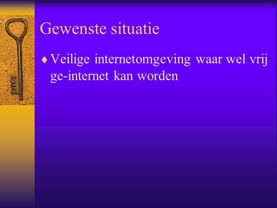 Gewenste situatie Veilige internetomgeving waar wel vrij ge-internet kan worden