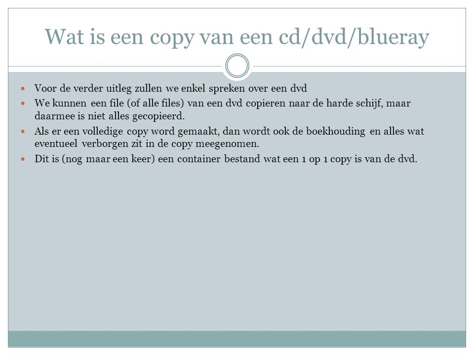 Wat is een copy van een cd/dvd/blueray