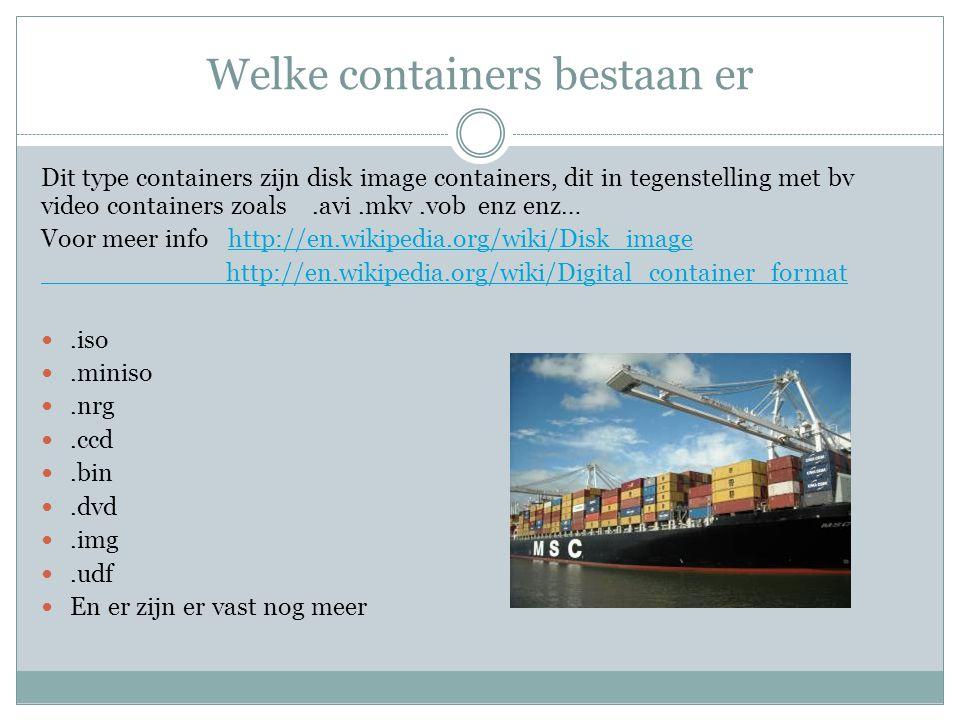 Welke containers bestaan er