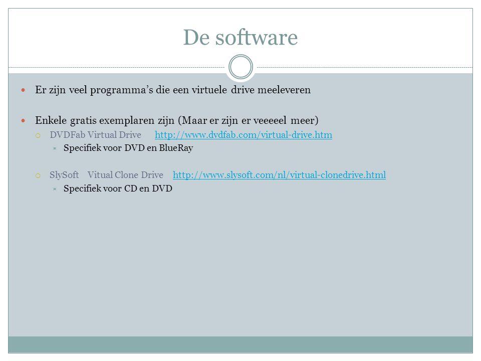 De software Er zijn veel programma's die een virtuele drive meeleveren