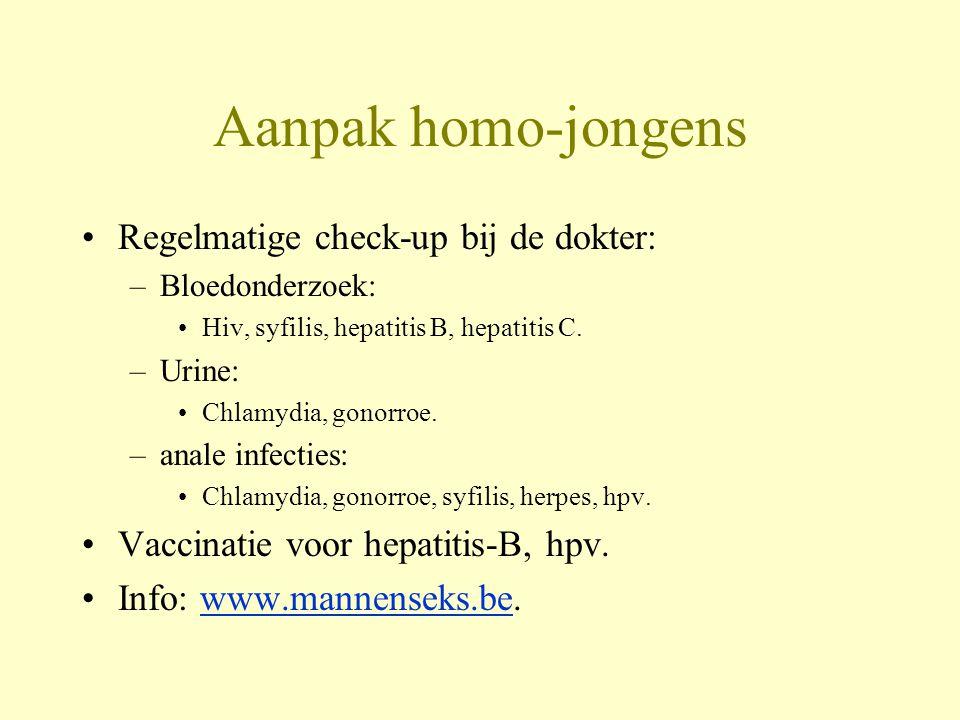 Aanpak homo-jongens Regelmatige check-up bij de dokter: