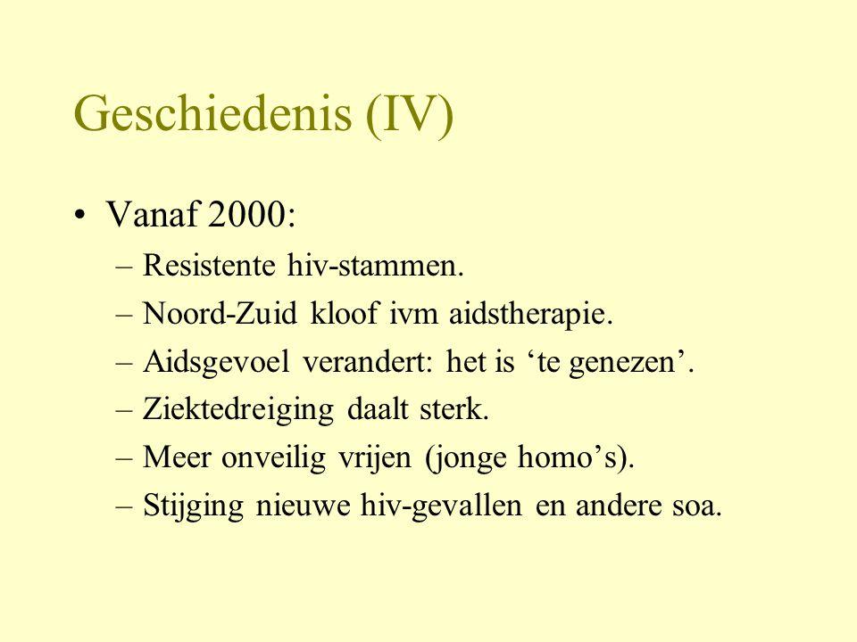 Geschiedenis (IV) Vanaf 2000: Resistente hiv-stammen.