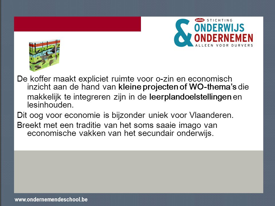Dit oog voor economie is bijzonder uniek voor Vlaanderen.