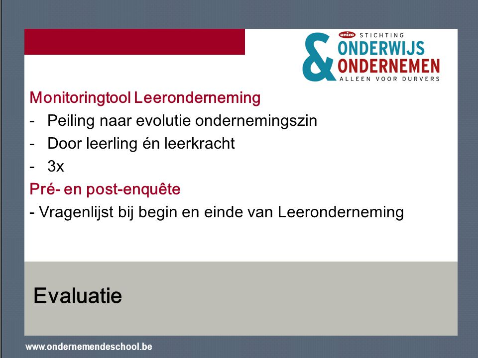 Evaluatie Monitoringtool Leeronderneming