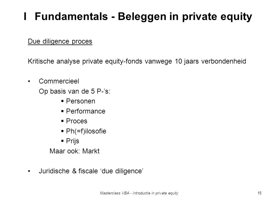 Masterclass VBA - Introductie in private equity