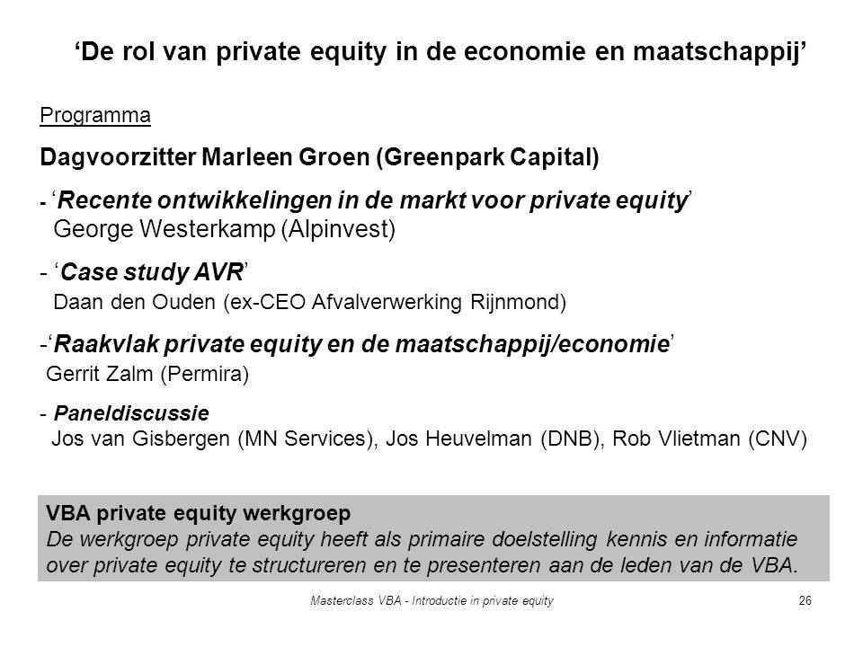 'De rol van private equity in de economie en maatschappij'