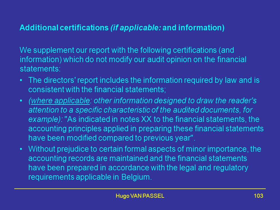 Additional certifications (if applicable: and information)