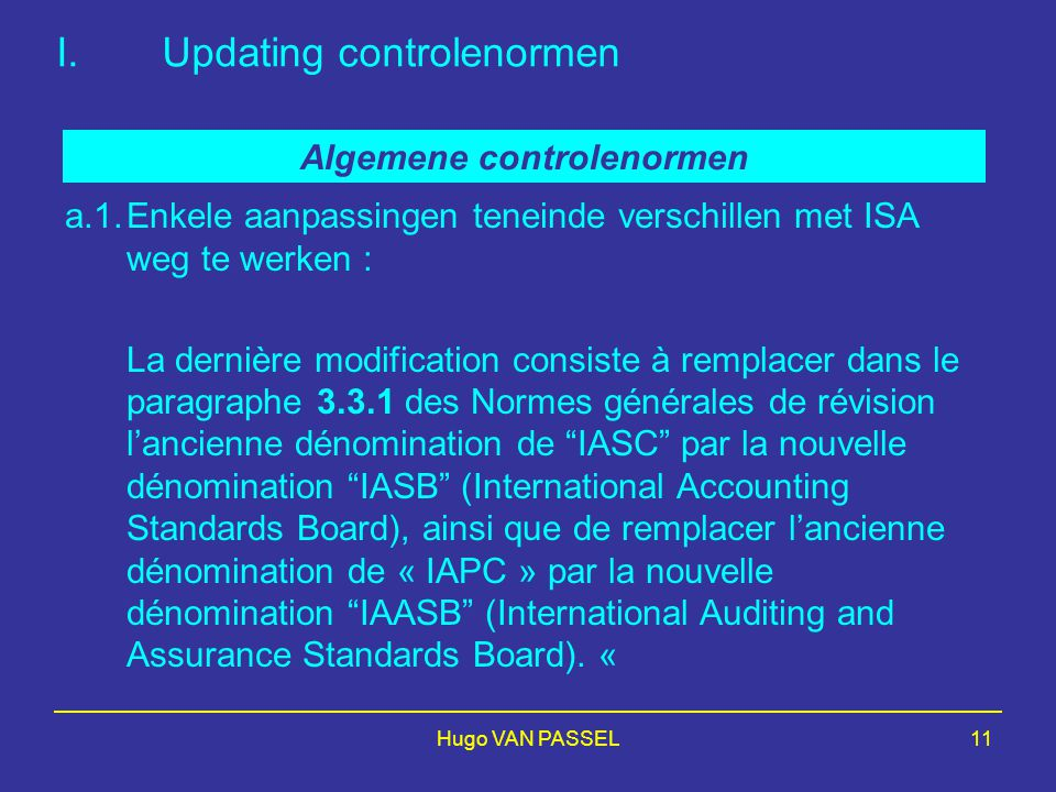 Updating controlenormen