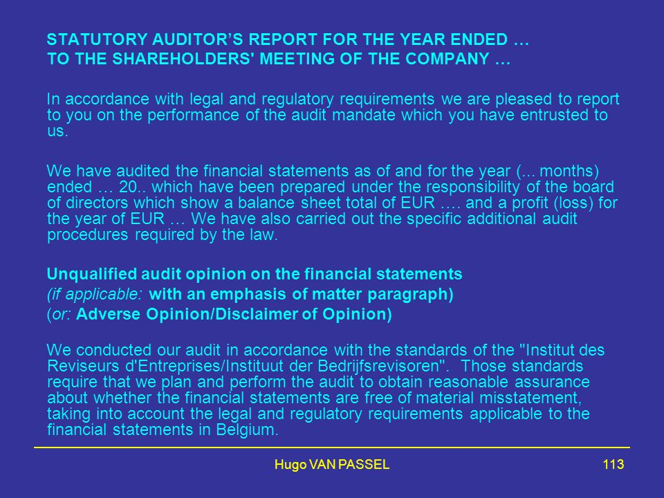 STATUTORY AUDITOR'S REPORT FOR THE YEAR ENDED …