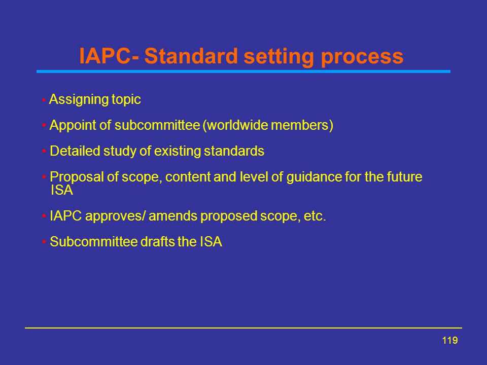 IAPC- Standard setting process