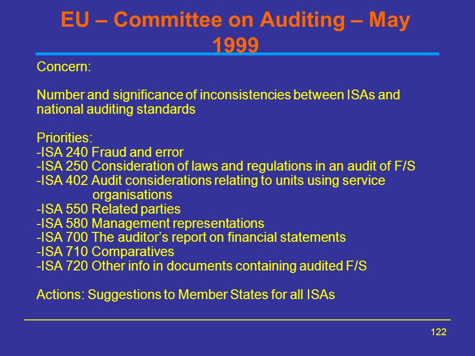 EU – Committee on Auditing – May 1999