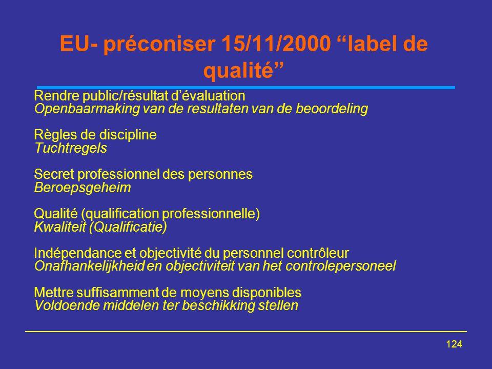 EU- préconiser 15/11/2000 label de qualité