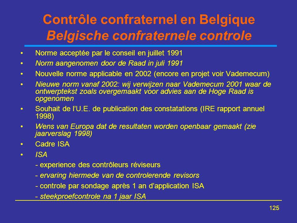 Contrôle confraternel en Belgique Belgische confraternele controle