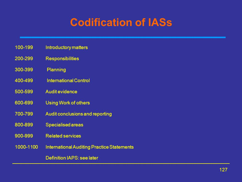 Codification of IASs 100-199 Introductory matters