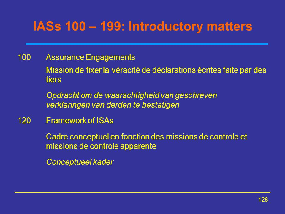 IASs 100 – 199: Introductory matters