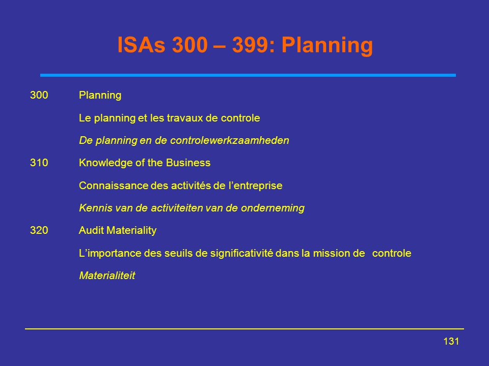 ISAs 300 – 399: Planning 300 Planning