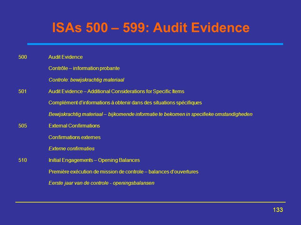 ISAs 500 – 599: Audit Evidence 500 Audit Evidence