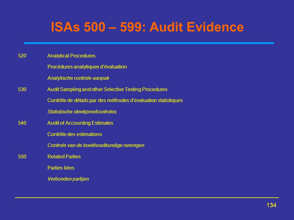 ISAs 500 – 599: Audit Evidence 520 Analytical Procedures
